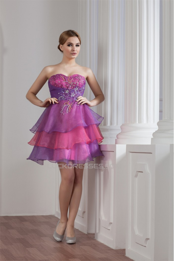Beading Sweetheart Satin Organza A-Line Cocktail Evening Party Dresses 02021305
