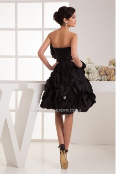 A-Line Beading Taffeta Strapless Sleeveless Short/Mini Little Black Dresses 02021307