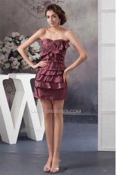 Beautiful Sheath/Column Taffeta Short/Mini Bows Evening Party Bridesmaid Dresses 02021308