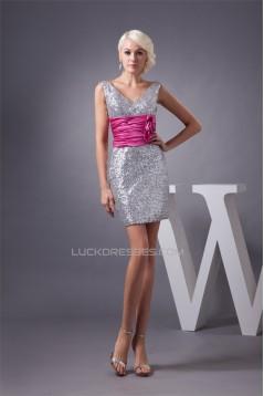 Charming Short/Mini Sheath/Column Sequins Dresses Evening Party Bridesmaid Dresses 02021309