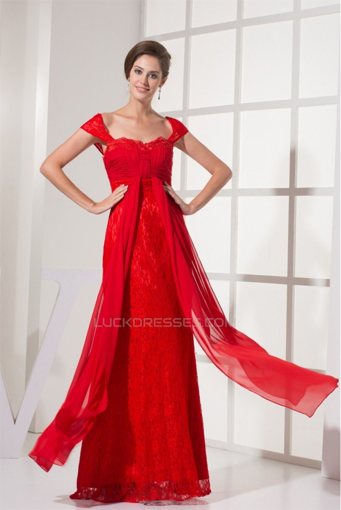 Capped Sleeves Chiffon Lace Long Red Evening Formal Bridesmaid Dresses 02020131
