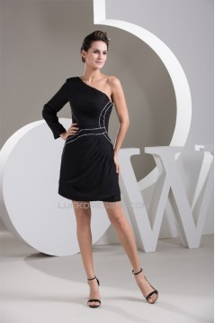 Chiffon Beading One-Shoulder Sheath/Column Prom/Formal Evening Dresses 02021310