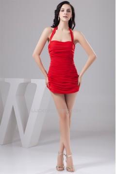 Chiffon Short/Mini Sheath/Column Halter Red Prom/Formal Evening Dresses 02021312