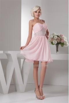 A-Line Sweetheart Beaded Pink Chiffon Short/Mini Sleeveless Prom/Formal Evening Dresses 02021313
