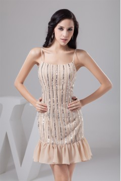 Chiffon Sleeveless Sheath/Column Sequins Evening Party Bridesmaid Dresses 02021314