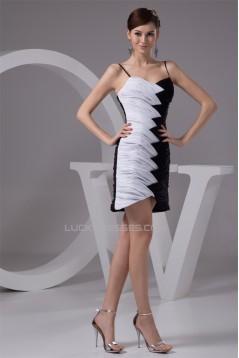Chiffon Spaghetti Straps Black White Prom/Formal Evening Dresses 02021315