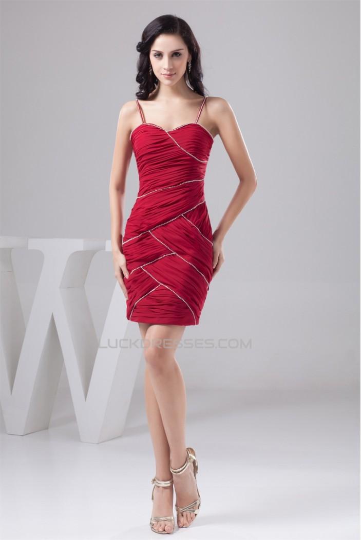 Chiffon Spaghetti Straps Short Red Prom/Formal Evening Dresses 02021316