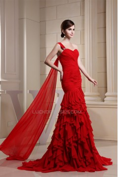 Cascading Ruffles Sweetheart Mermaid/Trumpet Long Red One-Shoulder Prom/Formal Evening Dresses 02020132