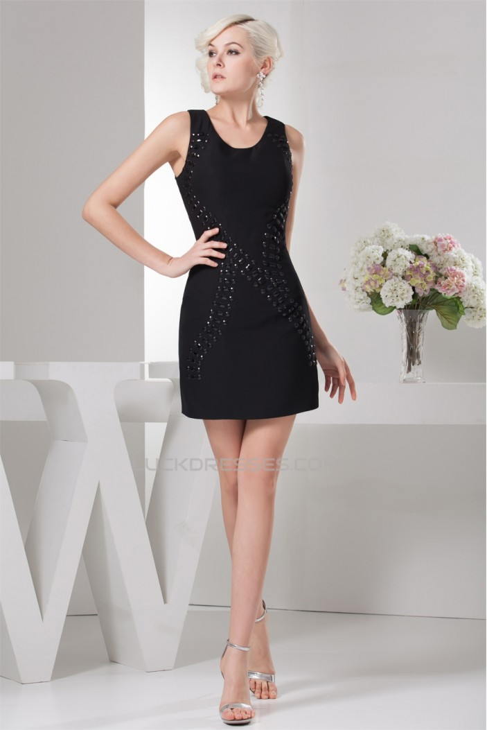 fashionable Sheath/Column Straps Sleeveless Beading Little Black Dresses 02021322