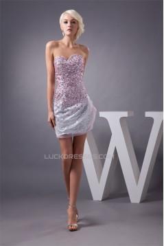 Fine Netting Short/Mini Beading Sequins Prom/Formal Evening Dresses 02021323