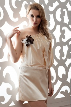 Half Elbow Length One-Shoulder Elastic Woven Satin Pongee Prom/Formal Evening Dresses 02021324