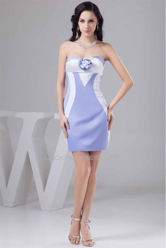 Imitate Leather Satin Short/Mini Sleeveless Bridesmaid Dresses 02021329