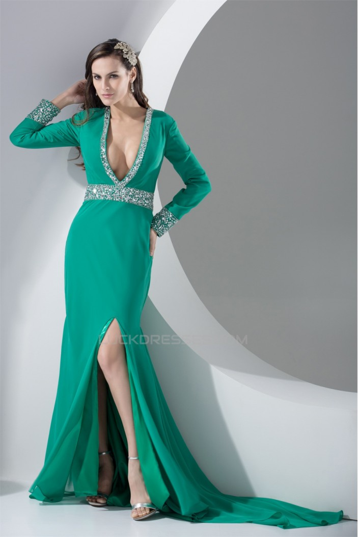 Chiffon Beading Long Sleeve V-Neck A-Line Evening Mother of the Bride Dresses 02020133