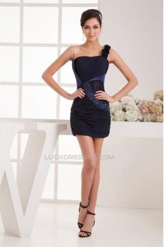 One-Shoulder Chiffon Lace Sleeveless Short/Mini Prom/Formal Evening Dresses 02021333