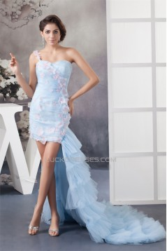 One-Shoulder Sheath/Column Sleeveless Satin Chiffon Fine Netting Prom/Formal Evening Dresses 02021334