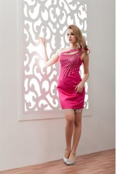 One-Shoulder Sleeveless Sheath/Column Elastic Woven Satin Prom/Formal Evening Dresses 02021335