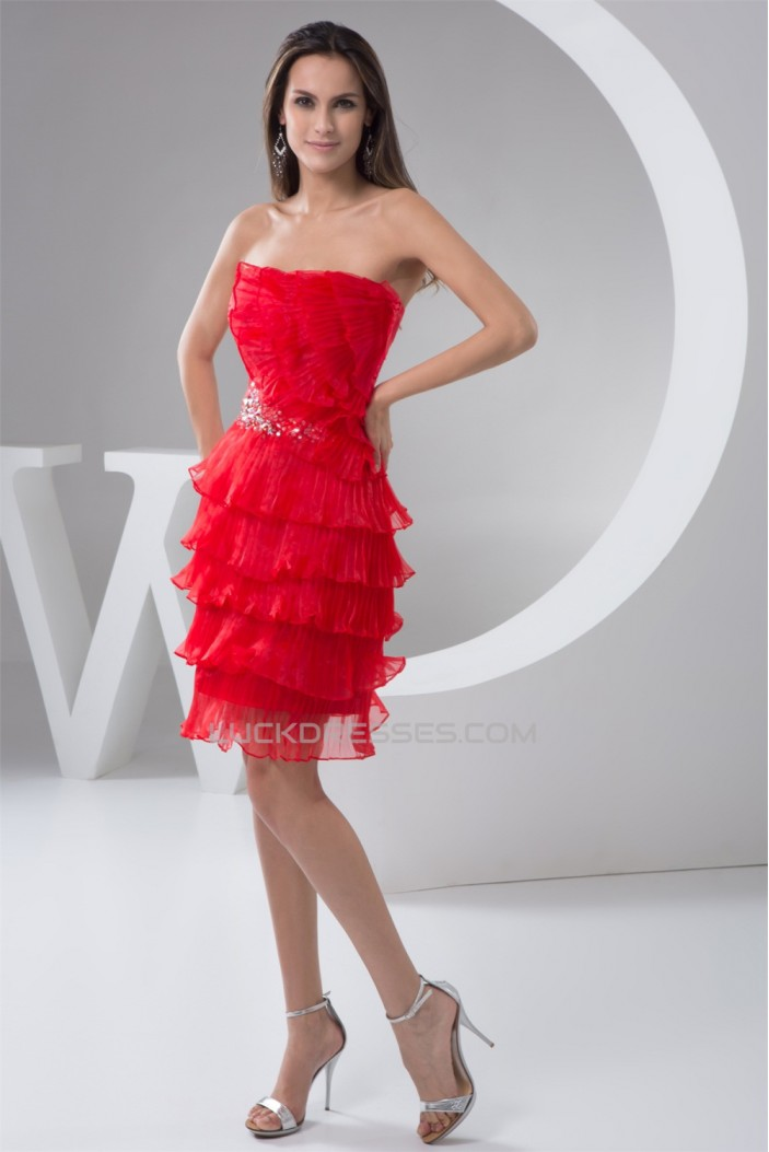 Organza Strapless Sleeveless Beading Knee-Length Prom/Formal Evening Dresses 02021336