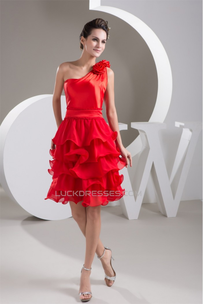 A-Line Pleats One-Shoulder Sleeveless Short/Mini Red Prom/Formal Evening Bridesmaid Dresses 02021338