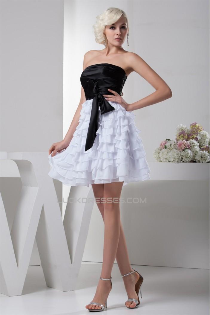 A-Line Ruched Strapless Short/Mini Satin Chiffon Black White Prom/Formal Evening Dresses 02021340