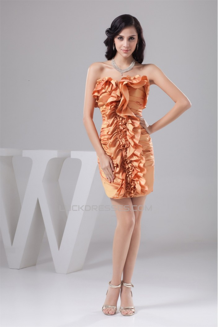 Ruched Strapless Short/Mini Sheath/Column Prom/Formal Evening Dresses 02021341