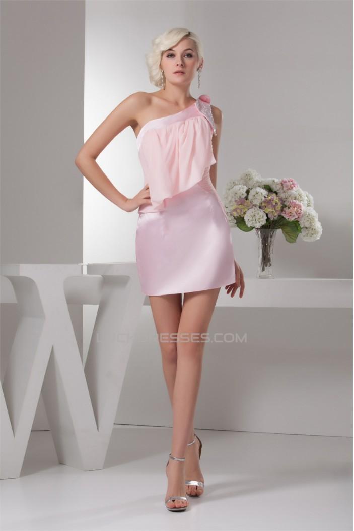 Satin Chiffon Beading Sleeveless Short/Mini Prom/Formal Evening Dresses 02021343