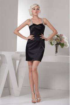 Satin Silk like Satin Short/Mini Sheath/Column Prom/Formal Evening Dresses 02021347