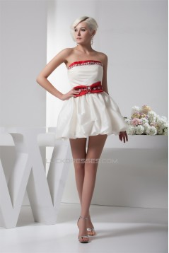 A-Line Satin Taffeta Sleeveless Short/Mini Cocktail Homecoming Evening Dresses 02021350