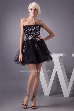 Sequins Satin Fine Netting A-Line Sleeveless Little Black Dresses 02021352