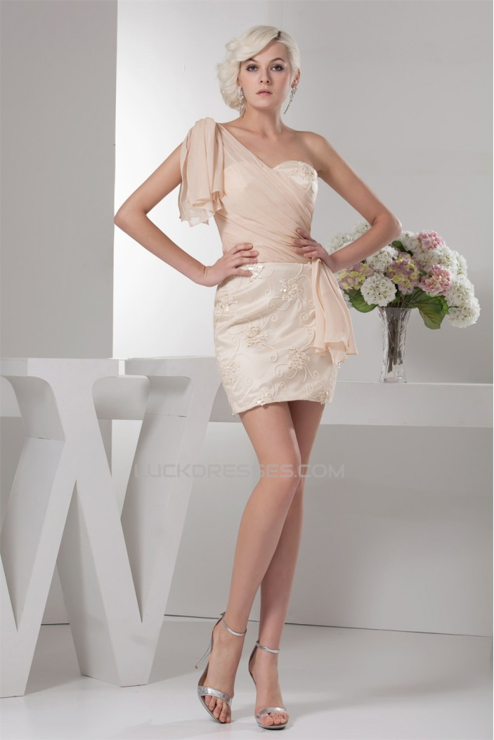 Sheath/Column Chiffon Silk like Satin One-Shoulder Prom/Formal Evening Dresses 02021357