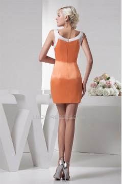 Sheath/Column Handmade Flowers Satin Prom/Formal Evening Dresses 02021358