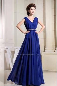 A-Line V-Neck Floor-Length Blue Chiffon Sleeveless Prom/Formal Evening Bridesmaid Dresses 02020136
