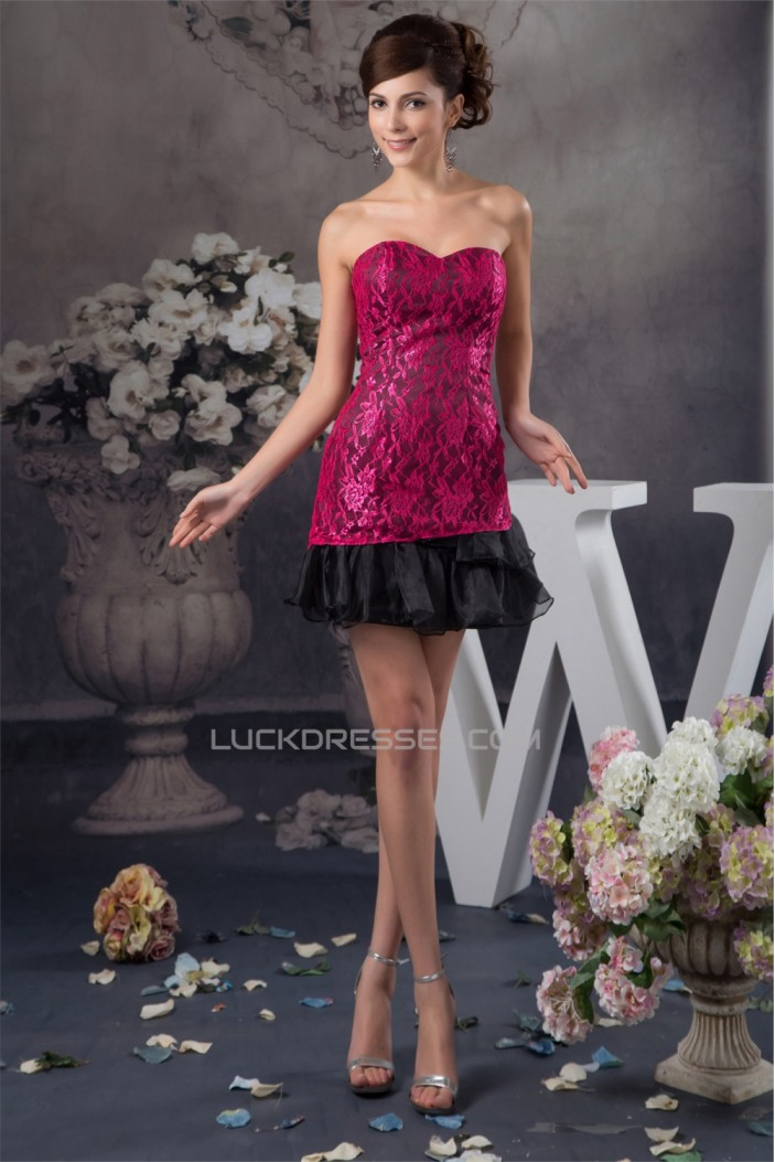 Sheath/Column Lace Organza Sleeveless Short/Mini Prom/Formal Evening Dresses 02021361