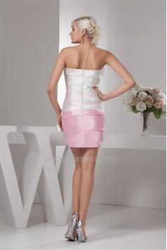 Sheath/Column Satin Taffeta Handmade Flowers Bridesmaid Dresses 02021363