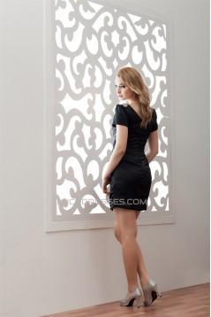 Sheath/Column Short/Mini Beading V-Neck Prom/Formal Evening Dresses 02021364