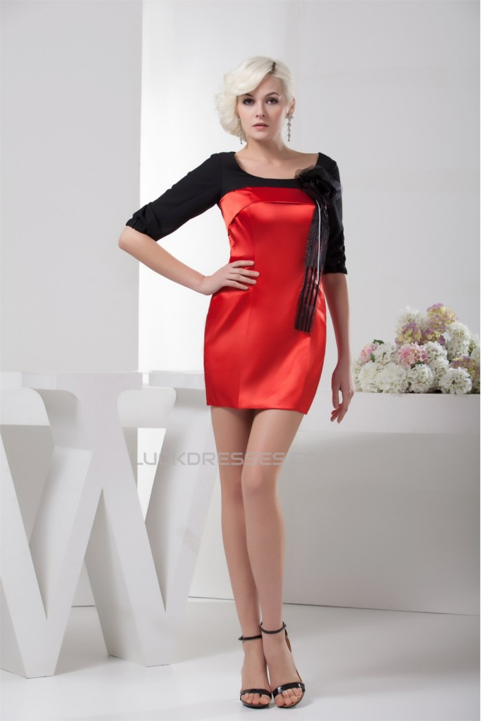 Sheath/Column Short/Mini Half Elbow Length Prom/Formal Evening Dresses 02021365