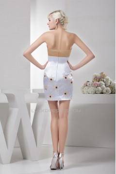 Short/Mini Beading Satin Silk like Satin Prom/Formal Evening Dresses 02021374