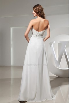 A-Line Strapless Chiffon Beaded Long Prom/Formal Evening Bridesmaid Dresses 02020138
