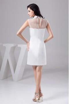 Short/Mini High-Neck Sheath/Column Organza Silk like Satin Little White Dresses 02021381