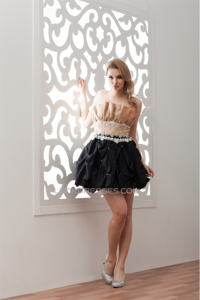 Short/Mini Pick Ups Taffeta Pongee A-Line Prom/Formal Evening Dresses 02021382