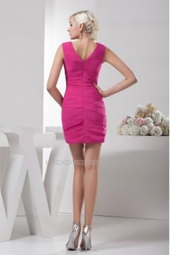 Short/Mini Pleats Sheath/Column V-Neck Bridesmaid Dresses 02021383
