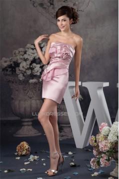 Short/Mini Sheath/Column Handmade Flowers Prom/Formal Evening Dresses 02021385