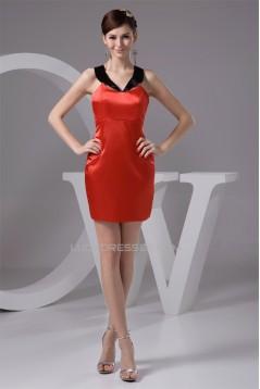 Short/Mini Sheath/Column Strapless Silk like Satin Prom/Formal Evening Dresses 02021388