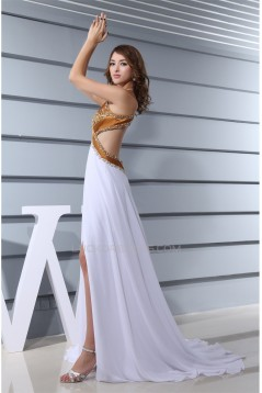 Chiffon Silk like Satin A-Line Sleeveless Prom/Formal Evening Dresses 02020139