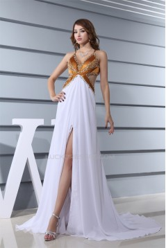 Chiffon Silk like Satin A-Line Sleeveless Prom/Formal Evening Dresses 02020139