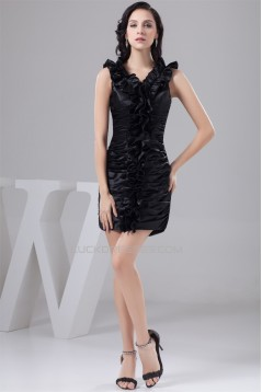 Short/Mini Silk like Satin Sleeveless V-Neck Prom/Formal Evening Dresses 02021391
