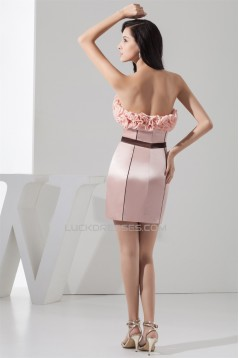 Short/Mini Sleeveless Bow s Chiffon Silk like Satin Prom/Formal Evening Dresses 02021392
