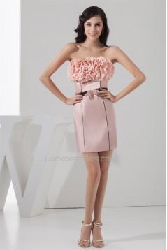 Short/Mini Sleeveless Bow s Chiffon Silk like Satin Prom/Formal Evening Dresses 02021392