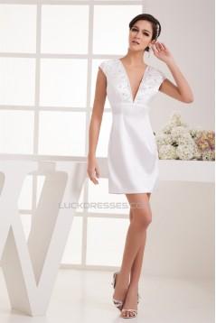 Short/Mini V-Neck Sheath/Column Elastic Woven Satin Prom/Formal Evening Dresses 02021398