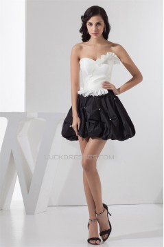 Sleeveless Beading A-Line Taffeta Short/Mini Prom/Formal Evening Dresses 02021407