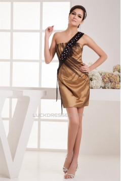 Sleeveless Beading Short/Mini One-Shoulder Prom/Formal Evening Dresses 02021408